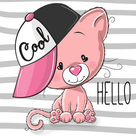 Cute Cartoon Cool Kitten with a pink cap on striped background. Vector illustration.