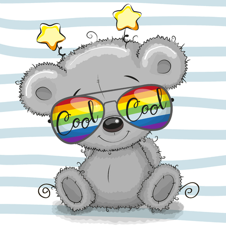 Cool Cartoon Cute Teddy Bear with sunglasses. Vector illustration.