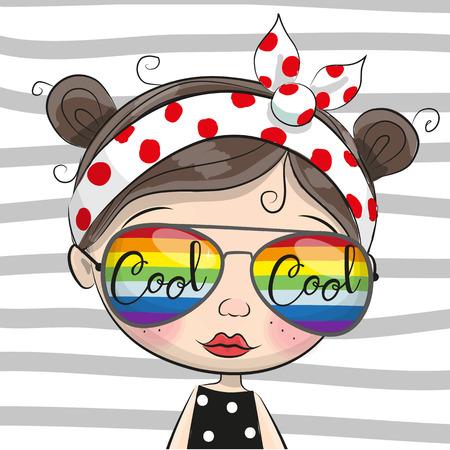 Cute Cartoon Girl with sunglasses