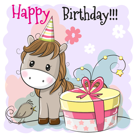Greeting Birthday card cute Cartoon Horse with gift Stock Vector - 100957274