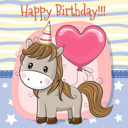Greeting Birthday Card Cute Cartoon Horse with balloon
