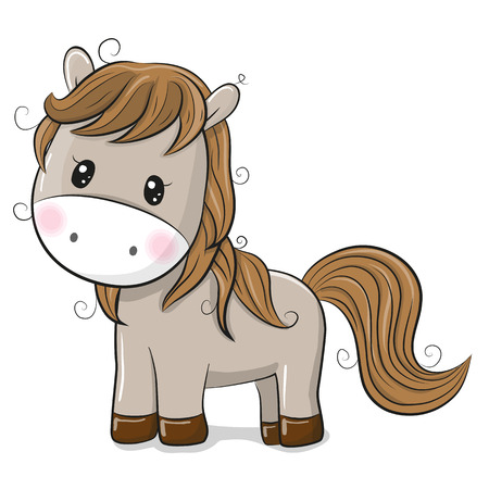 Cute Cartoon Horse isolated on a White background Illustration