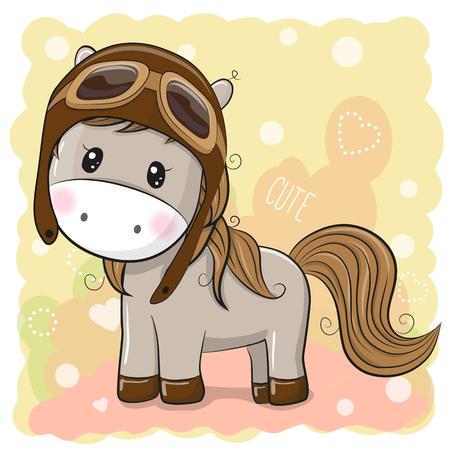 Cute cartoon Horse in a pilot hat