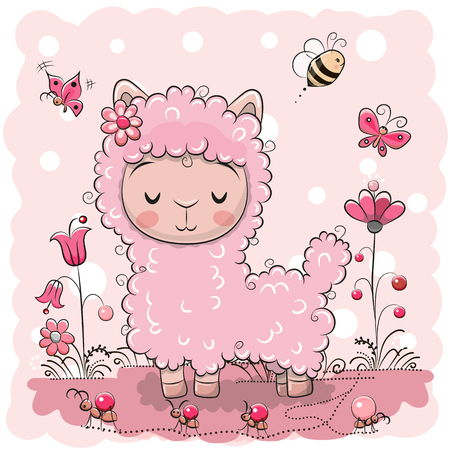 Cute Cartoon Lama with flowers and butterflies