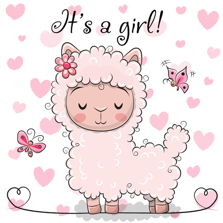 Baby Shower Greeting Card with Pink Alpaca girl Archivio Fotografico - 100999236