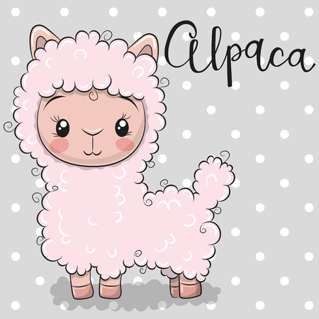 Cute Cartoon pink alpaca on a gray background Vettoriali