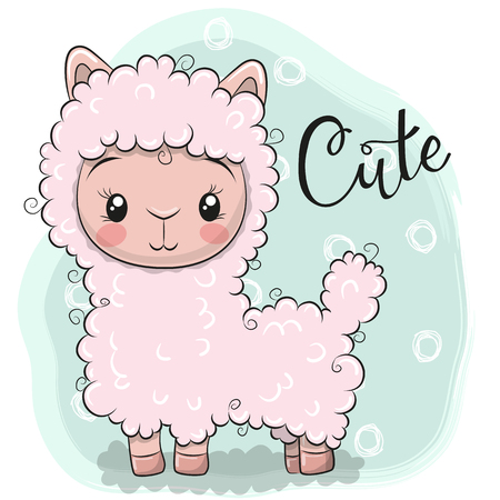 Cute Cartoon Pink Lama on a blue background  イラスト・ベクター素材