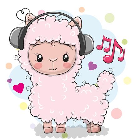 Cute dibujos animados de alpaca con auriculares sobre un fondo blanco.