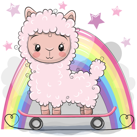 Cute Cartoon Alpaca with skateboard on a rainbow background