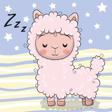 Alpaga de sommeil rose dessin animé mignon sur fond rayé Vecteurs
