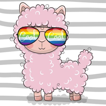 Cool Cartoon Cute Lama with sun glasses
