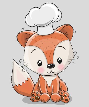 Ładny Caroon Fox w kapeluszu kucharz na białym tle na szarym tle