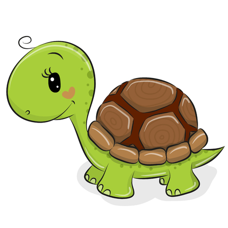 Cute Cartoon Turtle isolated on a white background