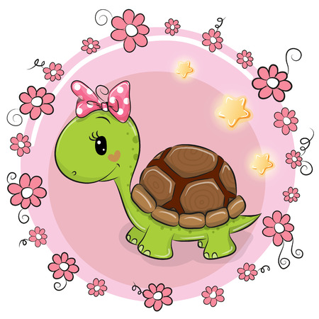 Carte de voeux Tortue avec des fleurs sur fond rose