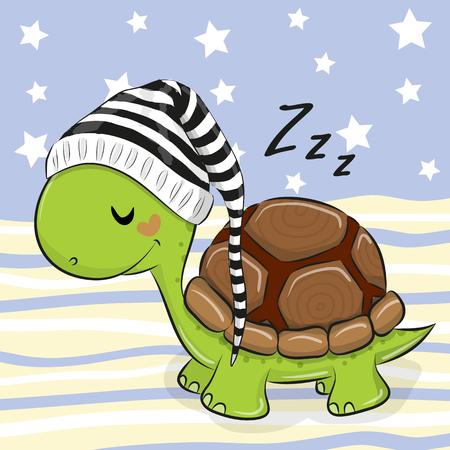 Sleeping cute Turtle in a hood on a blue background