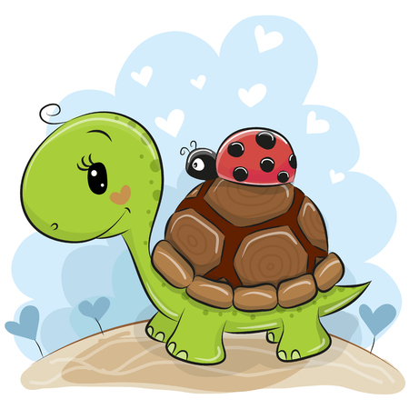 Cute Cartonn Turtle with ladybug on the meadow