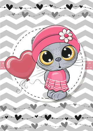 Greeting card Cute Cartoon Cat with balloon and bonnet Ilustrace