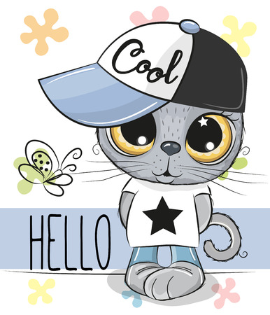 Cute cartoon Cat in a cap isolated on a white background
