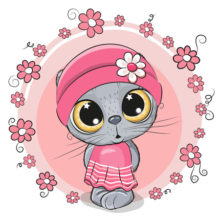 Greeting card Cute Kitten with flowers