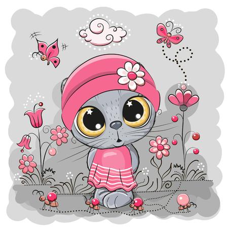 Cute Cartoon Kitten girl on a meadow with flowers and butterflies Foto de archivo - 101793478