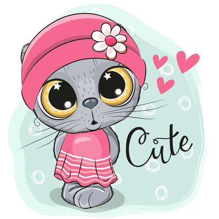 Cute Cartoon Kitten Girl on a blue background Illustration