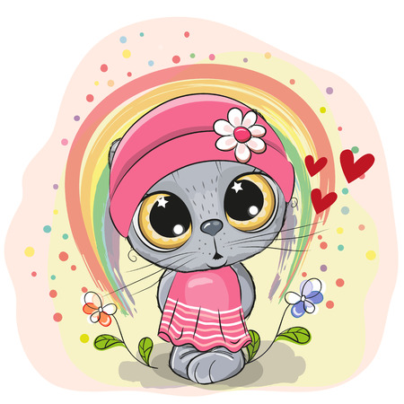 Cute Cartoon Cat with rainbow and flowers Illustration