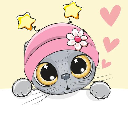 Biglietto di auguri simpatico cartone animato Cat Girl con cuori