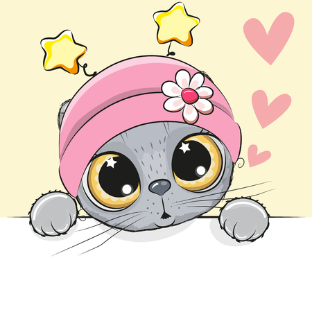 Greeting card cute Cartoon Cat Girl with hearts