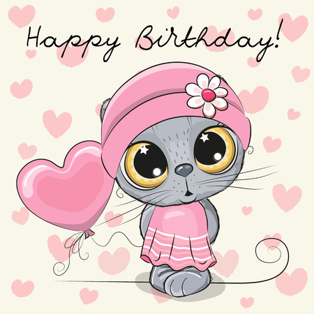 Greeting Birthday Card Cute Cartoon Kitten Girl with a balloon