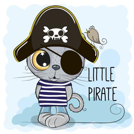 Cute cartoon British Kitten in a pirate hat  イラスト・ベクター素材