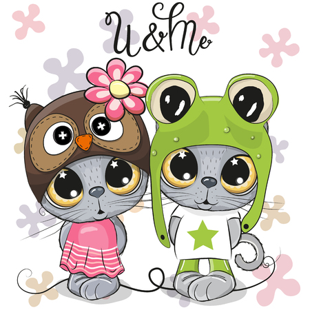 Greeting card Kittens boy and girl on a flowers background