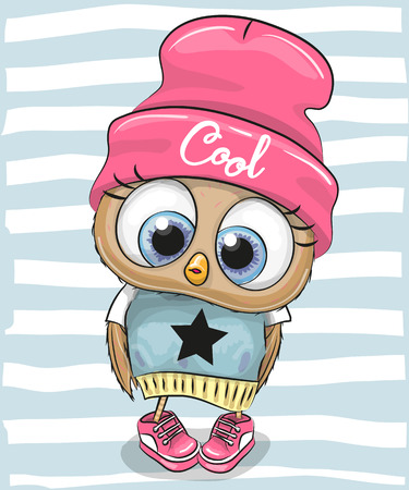 Cute Cartoon Owl in a hat and scarf 向量圖像