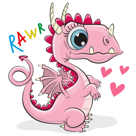 Cute Cartoon Dragon isolated on a white background