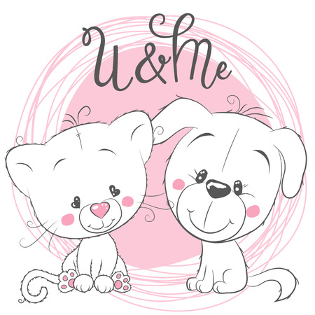Cute Cartoon Cat and Dog on a pink background Stock Illustratie