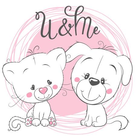 Cute Cartoon kat en hond op een roze achtergrond