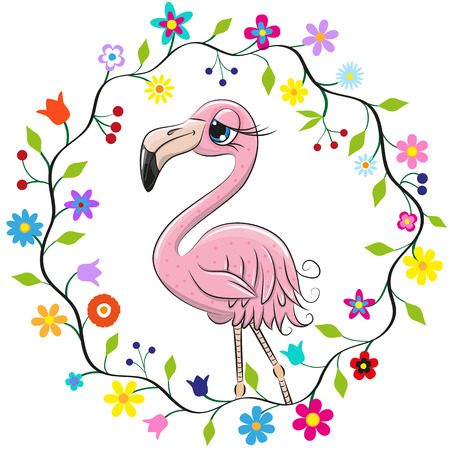 Cute Cartoon Flamingo in a flowers frame Stock Illustratie