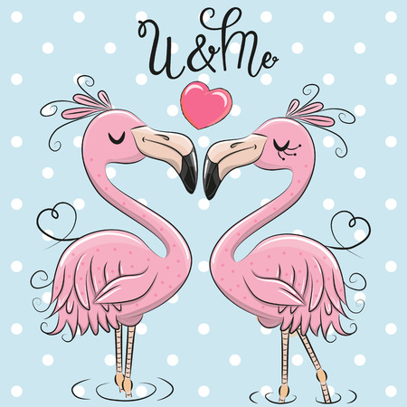 Two Cute Cartoon Flamingos on a blue background