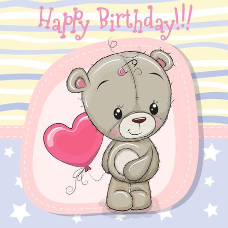 Greeting card Cute Teddy bear girl with balloon 일러스트
