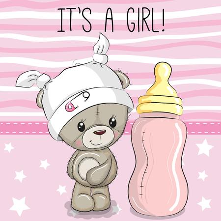 Niedlicher Cartoon-Teddybär mit Babyflasche