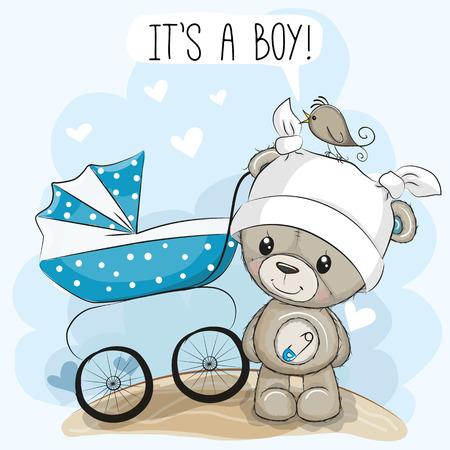 Wenskaart het is een jongen met kinderwagen en teddybeer