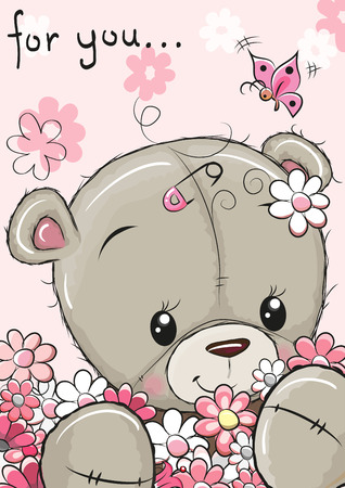 Cute Teddy Bear with flowers on a pink background
