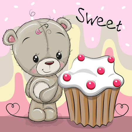 Greeting card Cute Cartoon Teddy Bear with cake