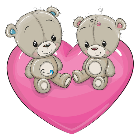 Two Cute Teddy Bears are sitting on a heart Illustration
