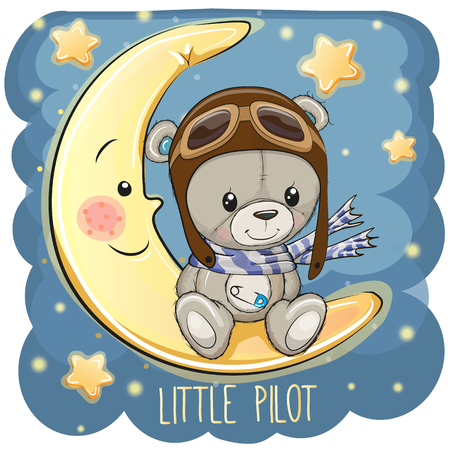 Cute cartoon Teddy Bear in a pilot hat is sitting on the moon
