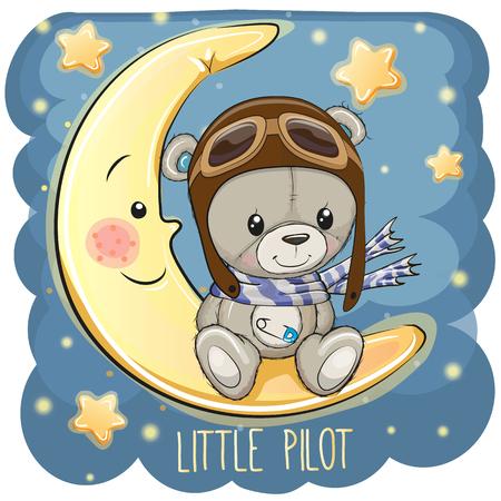 Cute cartoon Teddy Bear in a pilot hat is sitting on the moon