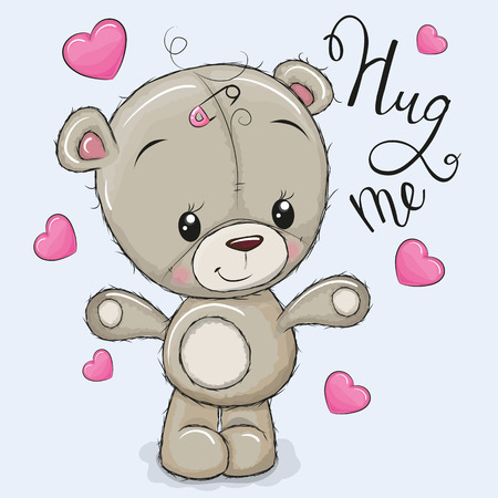 Greeting card Hug me with Bear Girl and hearts