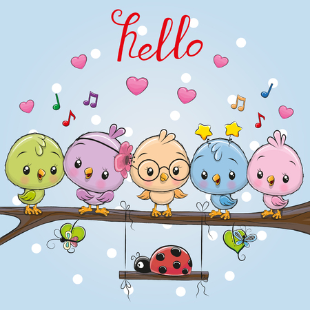 Five cute cartoon birds and ladybug on a branch