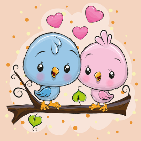 Two Cute Cartoon Birds is sitting on a branch  イラスト・ベクター素材