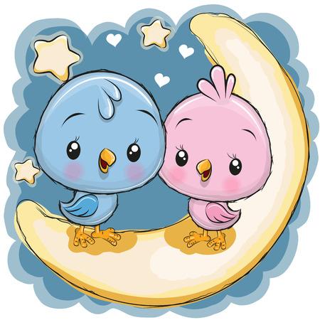Two Cute Cartoon Birds is sitting on the moon Ilustrace