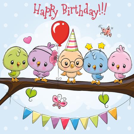 Tarjeta de felicitación Cinco pájaros de dibujos animados lindo en una rama
